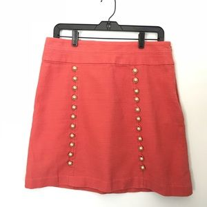 Anthropologie Cidra Button Front Coral Skirt